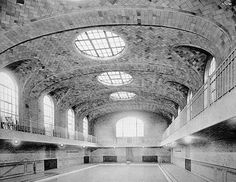 At this YMCA swimming pool in Jersey City, New Jersey, the Guastavino Company created vaulting that was perforated in the center and the sides to admit natural light. Courtesy of Avery Architectural and Fine Arts Library, Columbia University