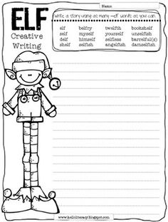 Free Creative Elf Writing Using Words Containing -elf {a bit challenging} Work On Writing, Teaching Writing, Writing Activities, Creative Writing, Writing Prompts, Writing Ideas, Christmas Writing, Christmas Elf, 3rd Grade Writing