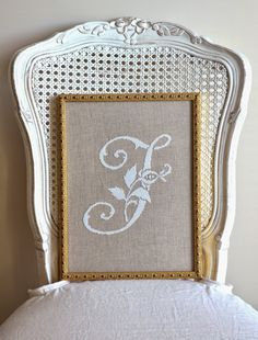Sew French: French Cross Stitch ~ Shabby Chic Cross-stitch, Simple and Pretty Cross-Stitch, French Cross-Stitched Monogram with White Silk on Natural Linen. Handmade