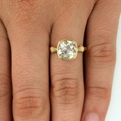 """Our favorite """"Colette"""" ring is finally here in yellow gold! #vintage #engagementring // The Singular Bride"""