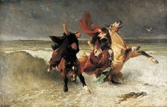 """Fuite de Gradlon"" (1884) | Évariste Vital Luminais"