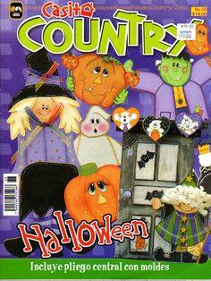 Casita country 36 - haloween - Luciana Dias - Picasa Web Albums Moldes Halloween, Manualidades Halloween, Halloween Crafts, Country Halloween, Holidays Halloween, Tole Painting, Artist Painting, Arte Country, Country Style