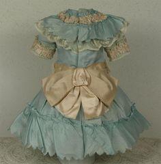 Wonderful Antique Aqua Silk Satin French Bebe Dress for JUMEAU, BRU, from mybebes on Ruby Lane