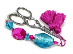 Scissor Fob Beaded Aqua Blue Fuchsia Pink by TJBdesigns on Etsy, $18.00