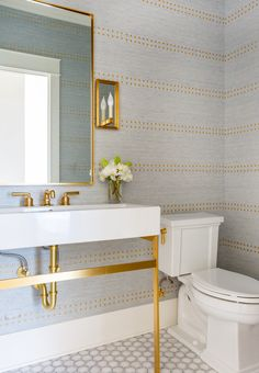 Play with color and shapes, play up your funky or refined style, and get creative decorating your master bath or powder room with these gorgeous bathroom wallpaper ideas. White Bathroom, Small Bathroom, Bathroom Rugs, Wall Paper Bathroom, Target Bathroom, Black And Gold Bathroom, Paris Bathroom, Remodled Bathrooms, 1950s Bathroom