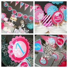 Winter Onederland Birthday Assembled Party Package - Personalized - Pink and Aqua