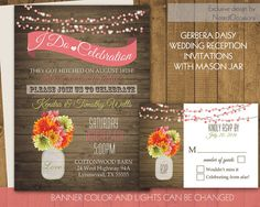 I Do BBQ Wedding Reception Invitation   Wedding Reception Only Invitations   with a Rustic Mason Jar Gerbera Daisies Country Western Appeal Wedding by NotedOccasions