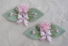 2pc Pink Flower Satin Bow Applique w by delightfuldesigner on Etsy, $3.50