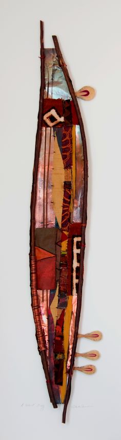 "18"" X 50""; embroidered and embellished textiles, new fabric, willow branch, copper, found objects"