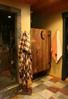 Bathroom Outhouse Door.  Saw this on Pinterest, showed it to hubby, and he built it for our bathroom. It's absolutely gorgeous, he just rocks