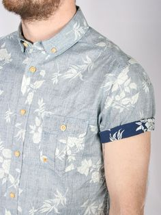 floral print button-up w/ contrast cuff.