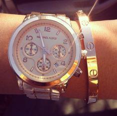 Rose Gold Runway Chronograph by Michael Kors & Cartier Bangle @}-,-;--
