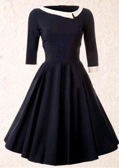 Vintage Style Scoop Neck 3/4 Sleeve HIt Color Women's A-Line DressVintage Dresses | RoseGal.com