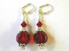 Red Earrings  Swarovski Crystal Silver by wimsy on Etsy, $8.95