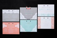 Mint and coral coloured, modern lace inspired, wedding invitation stationery set with bow detail by Rose, Paper, Scissors http://www.rosepaperscissors.com/