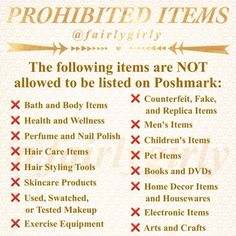 POSHMARK PROHIBITED AND ALLOWED ITEMS POSHMARK RULES Accessories