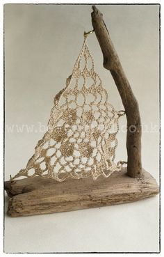 Crochet Sail Driftwood Boat Small Handmade from locally collected driftwood and…