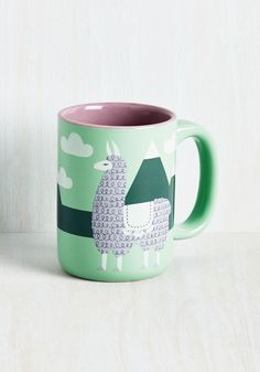 Alpaca a Punch Mug. Jump start your day by sipping a revved-up bevvie out of this printed mug - available in December! #green #modcloth
