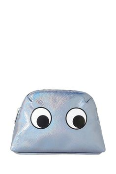 A makeup bag featuring an eyes graphic on both sides, a zipper top, and a pebbled texture.