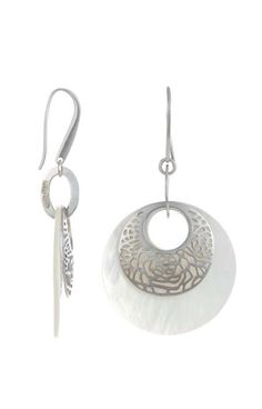 Rhodium Plated Sterling Silver & Mother Of Pearl Plated Drop Earring