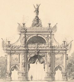 Emil Hoffmann (1845-1901), design for a gate of honour