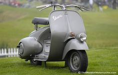 Vespa is an Italian brand of scooter manufactured by Piaggio. The name means wasp in Italian.  The Vespa has evolved from a single model motor scooter manufactured in 1946 by Piaggio & Co. S.p.A. of Pontedera, Italy—to a full line of scooters and one of seven companies today owned by Piaggio.