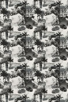Rimini Graphic - Prestigious Fabrics - A contemporary fabric showing a montage of images from Rome, including cars, buildings and people. Shown here in black, grey and white. Please request a sample for a true colour match. Contemporary Fabric, Summer Trends, Grey And White, Black, True Colors, Rome, Colour Match, Ss16, Decoupage
