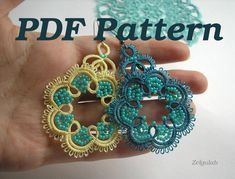 PDF Tatting Pattern - Earrings or Pendant in English and Russian with schemes
