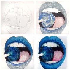 lips colored pencil drawing Heres some progress photos of my most recent blue lips drawing! *Prismacolor markers and colored pencils on Cansons mix media paper! Realistic Drawings, Art Drawings Sketches, Cool Drawings, Pencil Drawings, Drawings Of Lips, Horse Drawings, Blue Lips, Color Pencil Art, Drawing Techniques