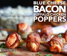 It& the recipe of all recipes: Wrap up these flavor-packed blue cheese and buffalo chicken poppers in crispy bacon for the ultimate bite-sized treat! One Bite Appetizers, Appetizers For Party, Appetizer Recipes, Appetizer Ideas, Party Recipes, Starters For Dinner, Easy Starters, Blue Cheese Chicken, Chicken Poppers