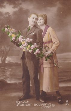 1910s French postcard Edwardian couple with by OldeTymeNotions
