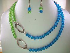 Aqua Blue and Kelly Green Crackle Glass Bead by DesignsbyPattiLynn, $60.00