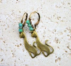 Beaded Cat Earrings, Tiny Turquoise Czech Glass Beads, Beaded Ear Wires, Rustic, Antiqued Brass, Kitty Cat Jewelry, Boho, Uniquely Cute