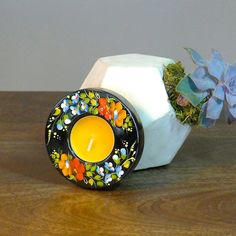 Hand painted ART candle holder  Handcrafted Candle by TreasureUA