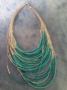 Six Strand Navy Beaded Necklace With Gold Beads On The End - Schmuck herstellen - Bead Jewellery, Sea Glass Jewelry, Boho Jewelry, Jewelry Crafts, Beaded Jewelry, Jewelery, Jewelry Necklaces, Handmade Jewelry, Fashion Jewelry