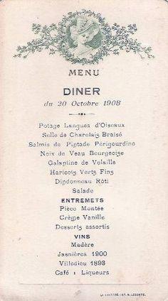 Menu Diner Du 20 Octobre 1908 French Dinner Collages D Images