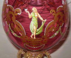 Antique Venetian Murano Cranberry Vase Goblet Salviati Moser Semi Nude Figures $2950.00