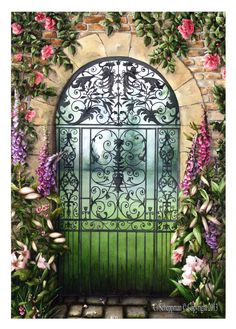 GARDEN art GATE PAINTING in 5 sizes by ColletteandCompany on Etsy