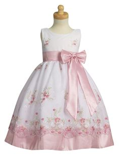 'White Organza Easter Dress with Pink Embroidery and Pink Taffeta'