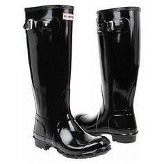 Rain, rain don't go away!  Hunter Black Gloss Wellies.
