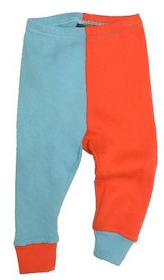 Baby leggins - Two colored - Pale orange/ice blue fra Moonkids