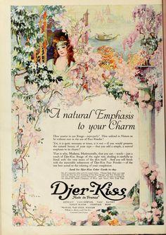 Djer-Kiss 1920 Vintage Makeup, Vintage Beauty, Vintage Ads, Perfume Ad, Vintage Perfume, Pin Up Illustration, Propaganda Art, Ad Art, Mermaid Art
