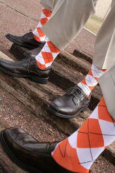 Orange argyle socks proved HARD to find.  So cool tho.    #orange #wedding #socks