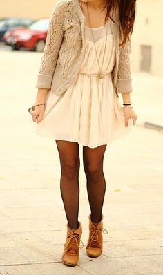Knit Cardigan - Military Boots - White Dress