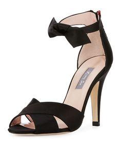 SJP BY SARAH JESSICA PARKER Buckingham Satin Ankle-Tie Sandal, Black. #sjpbysarahjessicaparker #shoes #