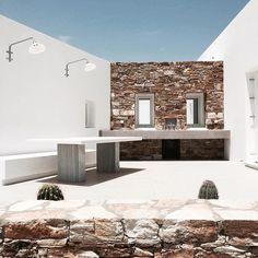 Kostos House from G+A Evripiotis (Architecture Studio) Blue Green, Mansions, Studio, Architecture, House Styles, Home Decor, Terrace, Arquitetura, Decoration Home