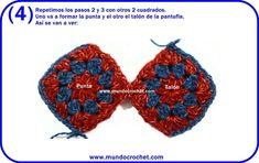 Pantuflas a crochet con cuadrados granny Loom Knitting Patterns, Crochet Patterns, Granny Square Slippers, Joining Granny Squares, Crochet Symbols, Labor, Crochet Squares, Learn To Crochet, Slip Stitch