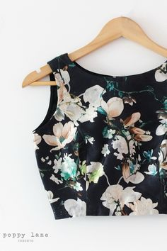 Night Garden - Black Floral Dupoini Silk blouse material. Shop now at poppylane.ca
