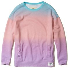 Hollister Distressed Oversized Sweatshirt (465.185 IDR) ❤ liked on Polyvore featuring tops, hoodies, sweatshirts, pink ombre, pink sweatshirts, oversized crew neck sweatshirt, fleece crewneck sweatshirt, oversized sweatshirt and ombre sweatshirt