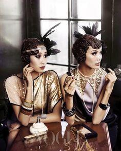 Gold, Sparkle, 20s fashion, gorgeus ladies